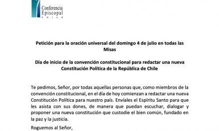 Petición para la oración universal en el día de inicio de la convención constitucional
